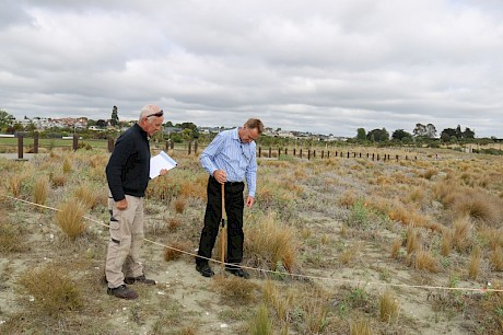 On-site field demonstration of proposed monitoring methods on dunes of Caroline Bay, Timaru with staff from the Timaru District Council. Project partners including councils and Coast Care groups nationwide are involved in evaluating and refining quantitative methods for assessing dune vegetation cover and condition.