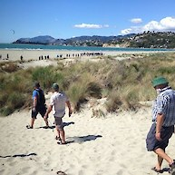 Checking out the Tahuna Beach dunes on the first day